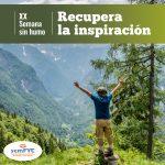 """Imagen visual de la XX Semana Sin Humo, con el lema de la campaña """"Recupera la inspiración""""."""